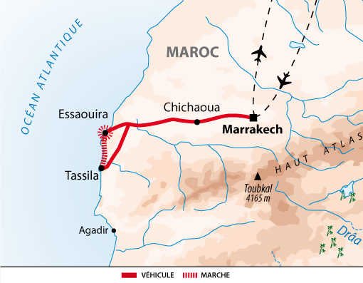 Carte itinéraire côte atlantique, Maroc