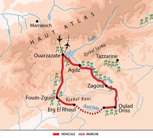 Carte itinéraire désert, Maroc