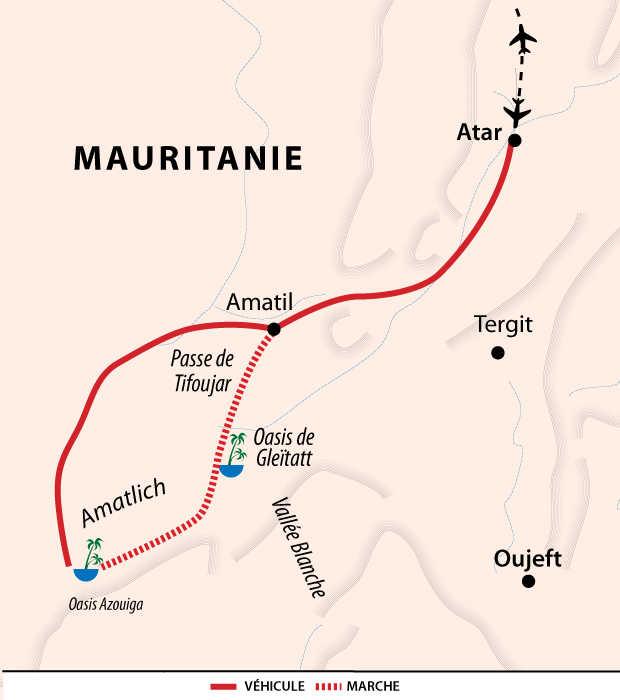 Carte itinéraire désert, Mauritanie