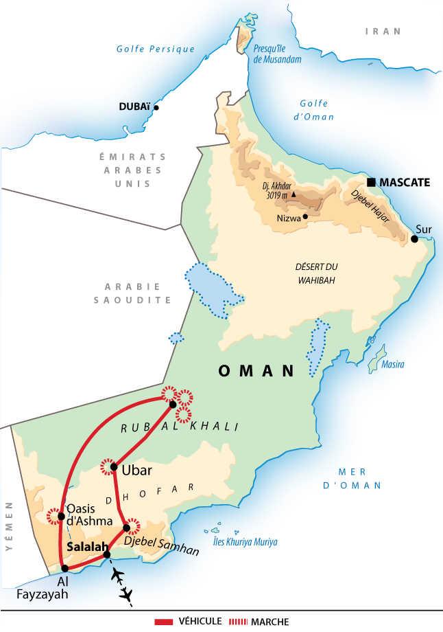 Carte itinéraire désert, Oman