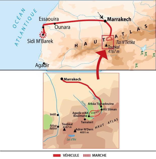 Carte itinéraire Maroc