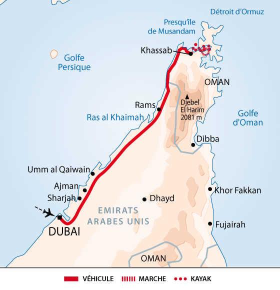 Carte itinéraire Musandam, Oman