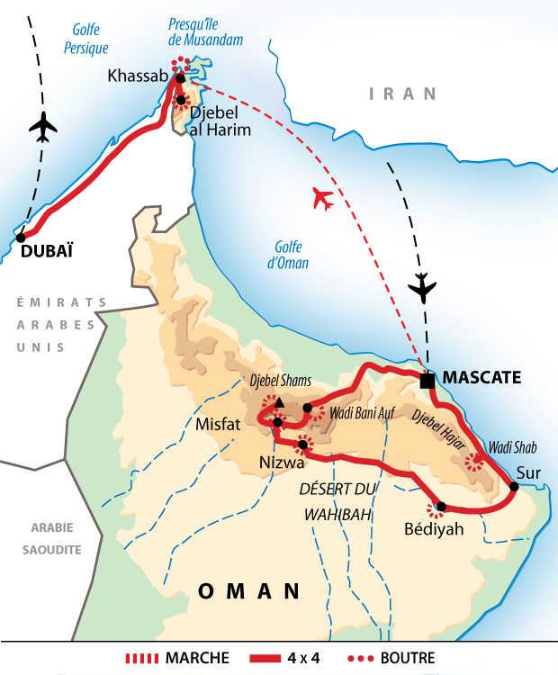Carte itinéraire Oman