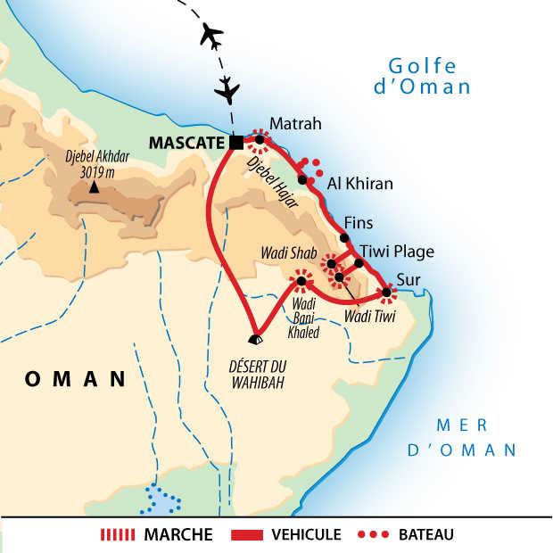 Carte itinéraire, Oman