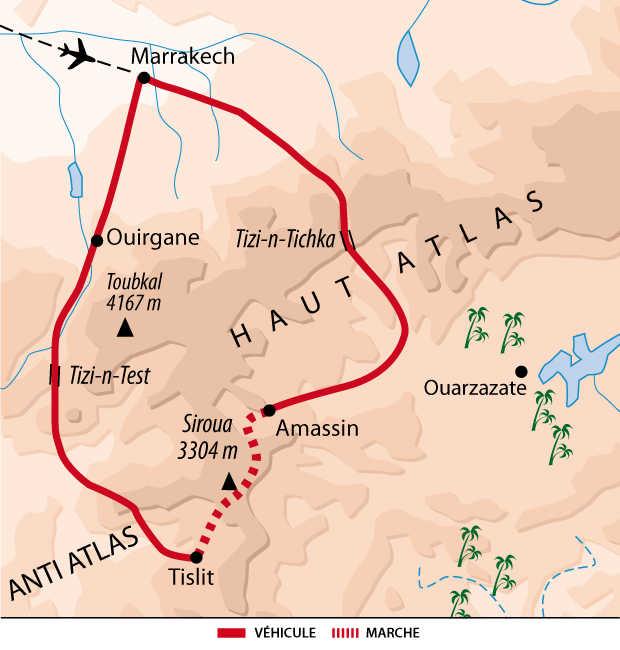 Carte itinéraire Siroua, Maroc