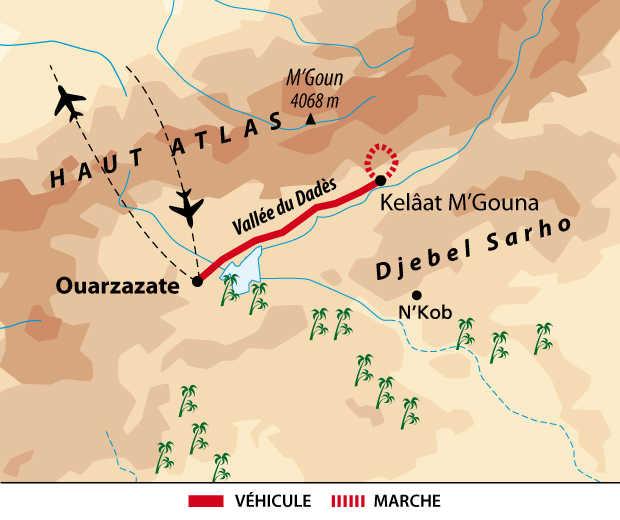 Carte itinéraire Sud marocain