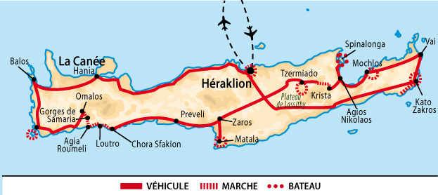 carte tour de la Crète