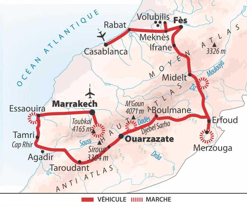 Carte traversée du Maroc
