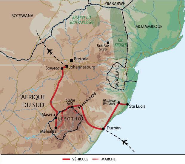 Carte trek et safari en Afrique du Sud