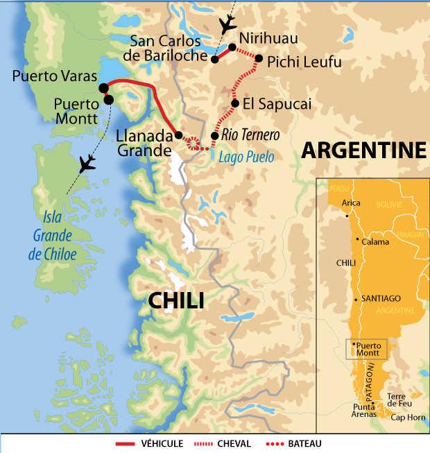 Carte voyage Argentine Chili Cheval