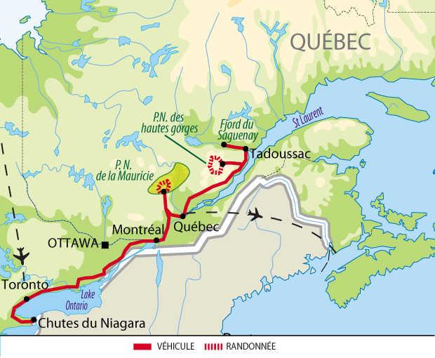 Carte : Voyage au Canada des chutes du Niagara au Québec