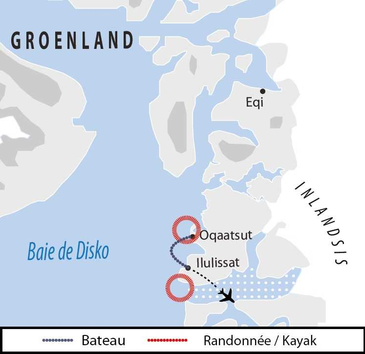 Carte : voyage au Groenland