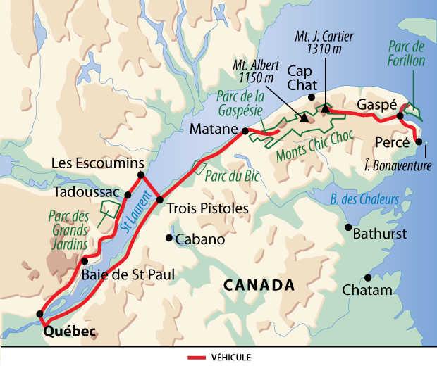 Carte : voyage au Québec