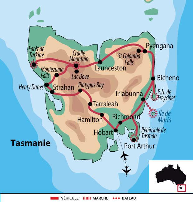 Carte voyage Australie Tasmanie
