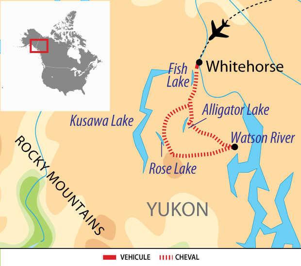 Carte voyage Canada USA Yukon Cheval