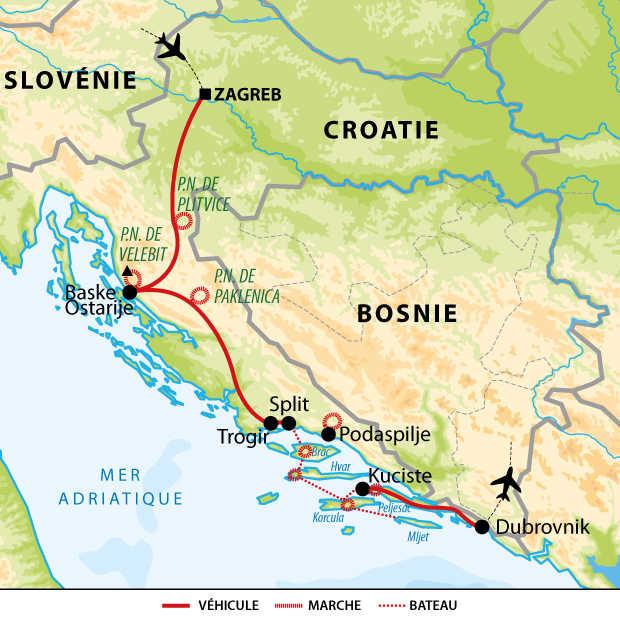 Carte voyage Croatie