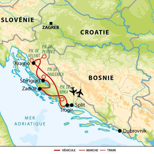 Carte voyage Croatie Parcs Naturels