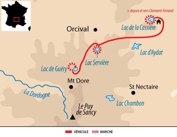 Carte voyage dans le Massif Central en Auvergne