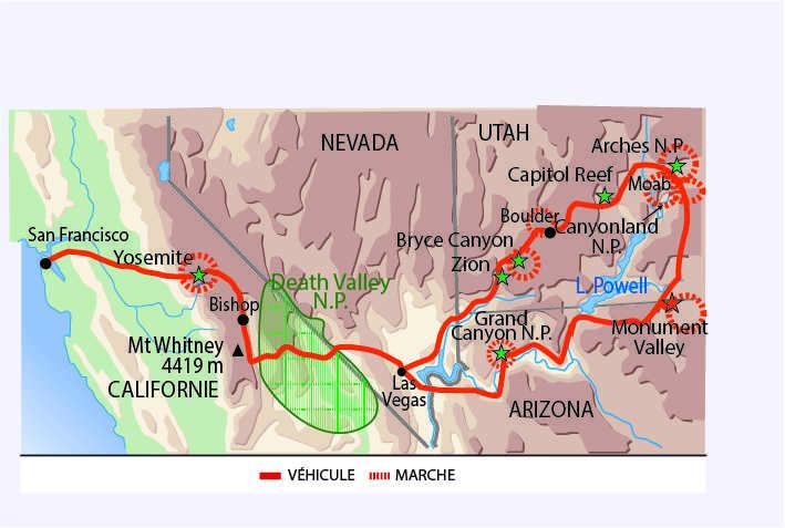 Carte : voyage dans l'Ouest américain