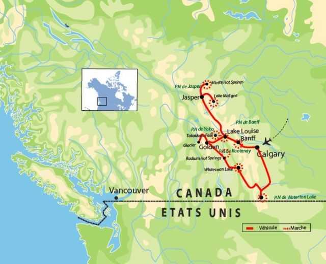 Carte : Voyage dans l'Ouest canadien