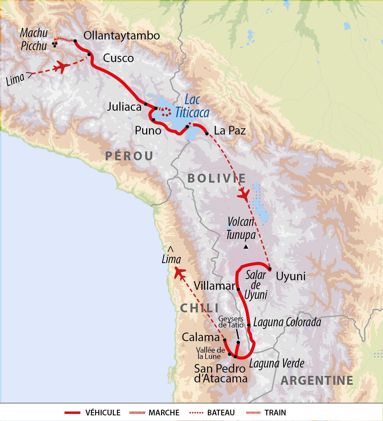 Carte voyage découverte andine : de Cusco au Sud Lipez