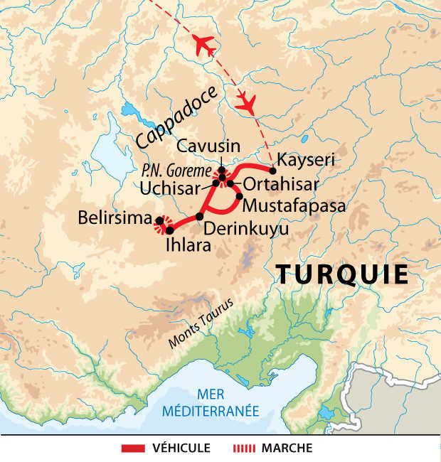 Carte voyage en Cappadoce en liberté