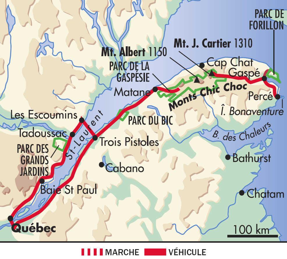 Carte : voyage en Gaspésie