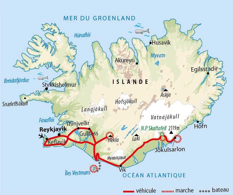 Carte voyage en Islande