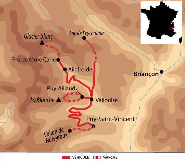 Carte voyage France Alpes Parc des Ecrins