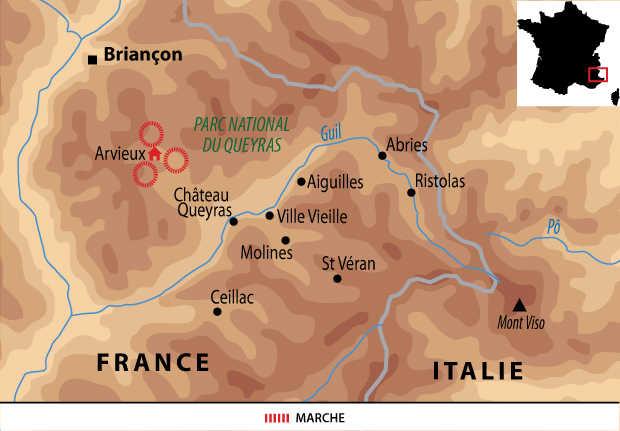 Carte voyage France Alpes Queyras