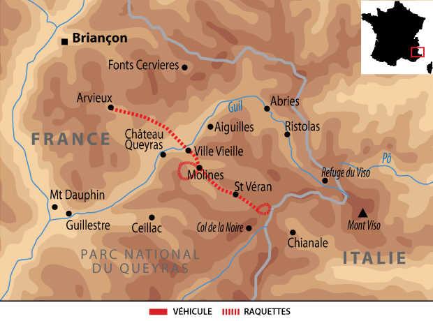 Carte voyage France Alpes Queyras Raquettes