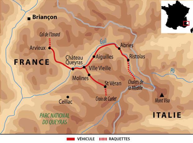 Carte voyage France Alpes Queyras Raquettes Reveillon