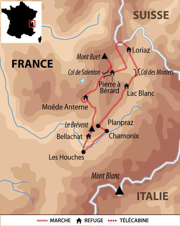 Carte voyage France Alpes Tour des Aiguilles Rouges Liberte