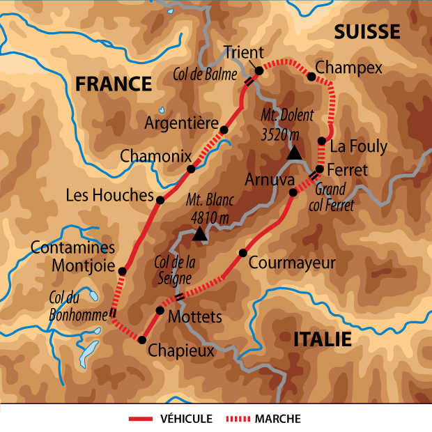Carte voyage France Alpes Tour du mont Blanc Liberte