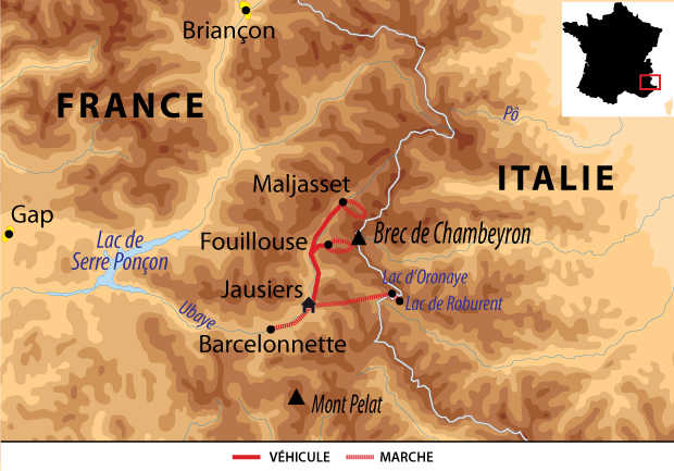 Carte voyage France Alpes Ubaye