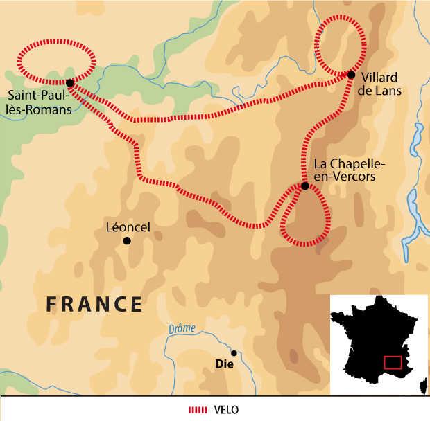 Carte voyage France Alpes Vercors Liberte Velo