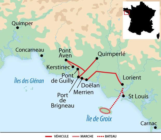 Carte voyage France Bretagne Cornouailles Île de Groix