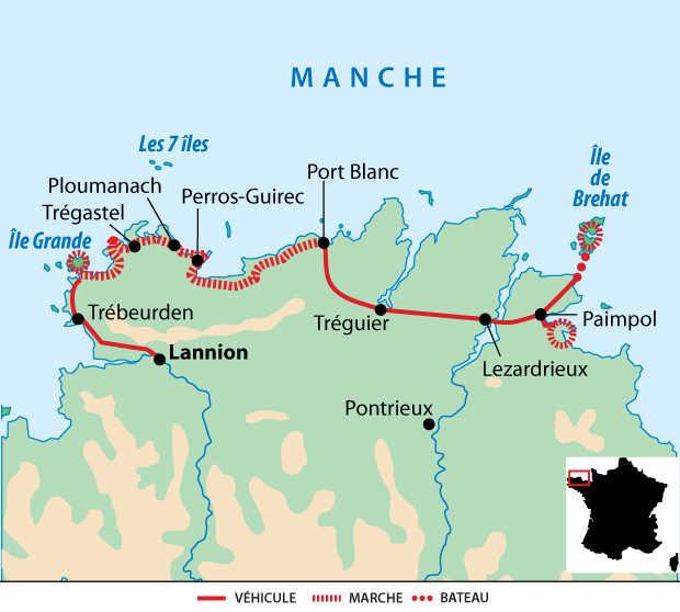 Carte voyage France Bretagne côte de Granit Rose île de Brehat