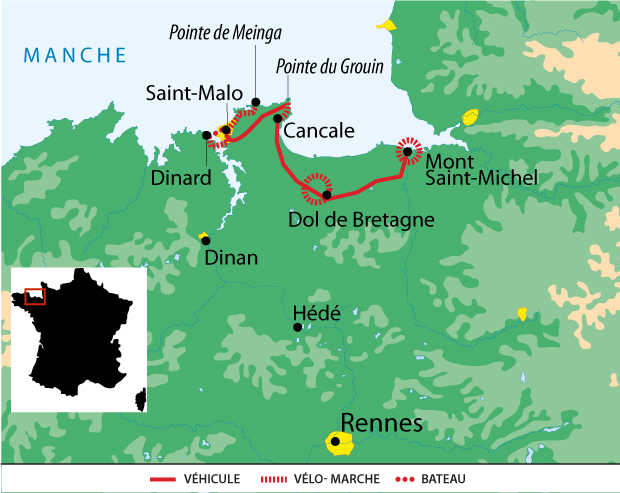 Carte voyage France Bretagne mont St Michel St Malo