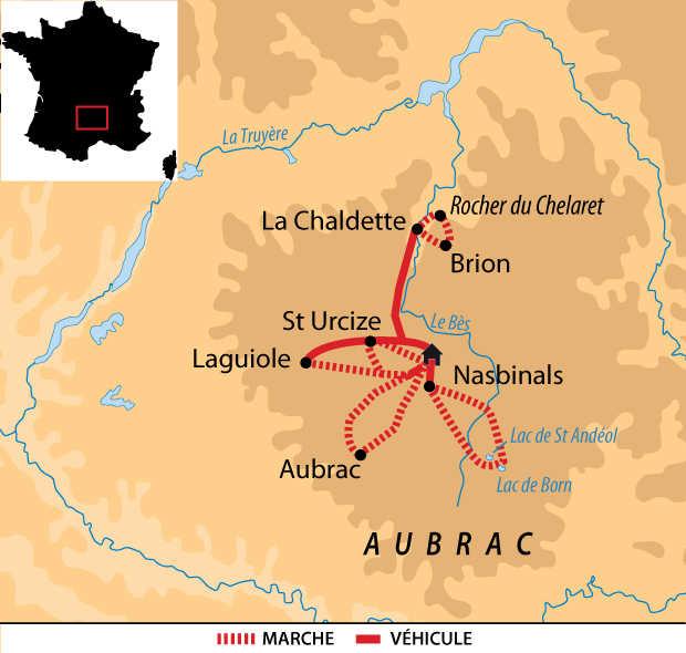 Carte voyage France Massif Central Aubrac