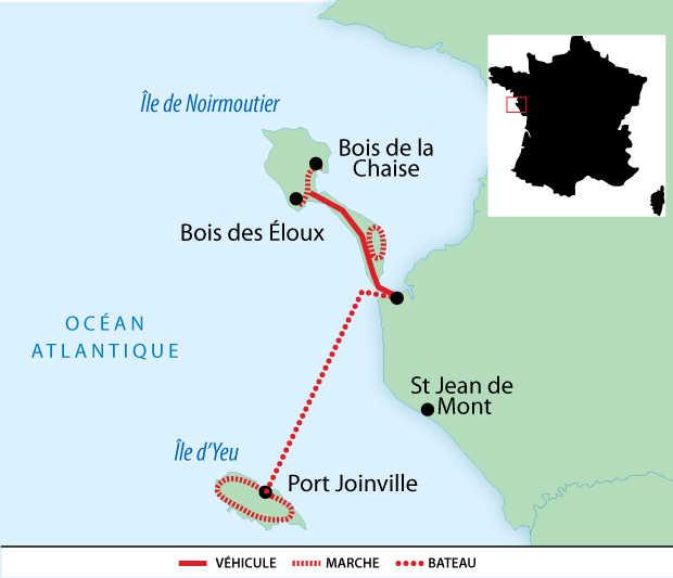 Carte voyage France Pays de Loire Vendée Yeu Noirmoutier Liberte