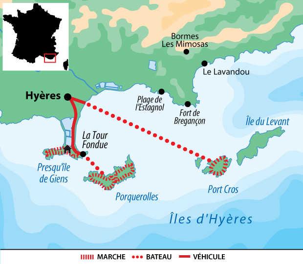 Carte voyage France Provence  Iles d'Or Liberte