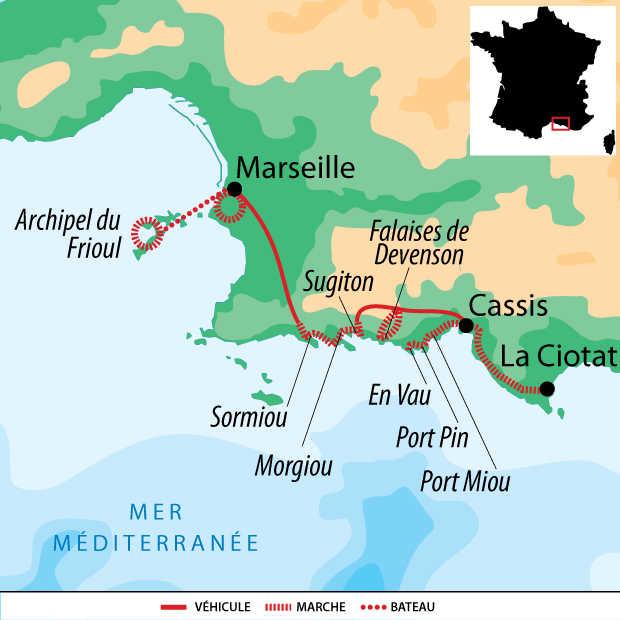 Carte Voyage France Provence Marseille Calanques Cassis La Ciotat