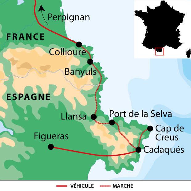 Carte voyage France Pyrenees Collioure Cadaques