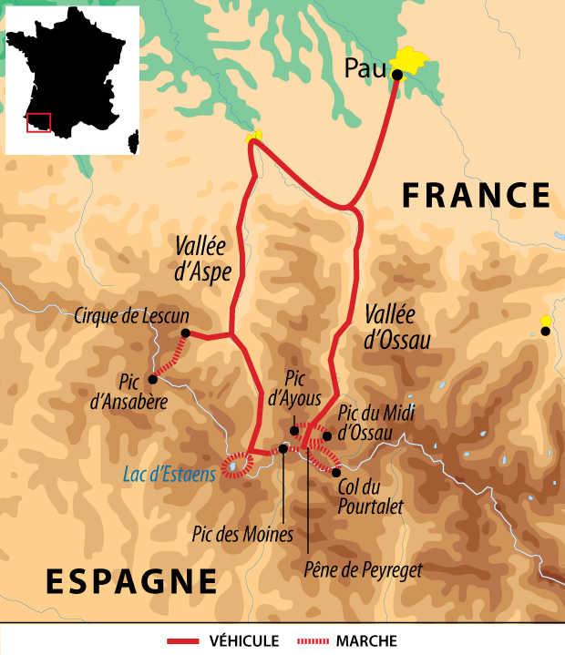 Carte voyage France Pyrenees Pau Aspe Ossau