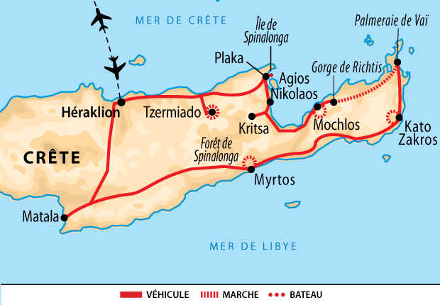 Carte Voyage Grece Crete Orientale