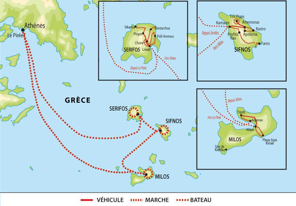 Carte voyage Grece Cyclades Serifos Sifnos Milos