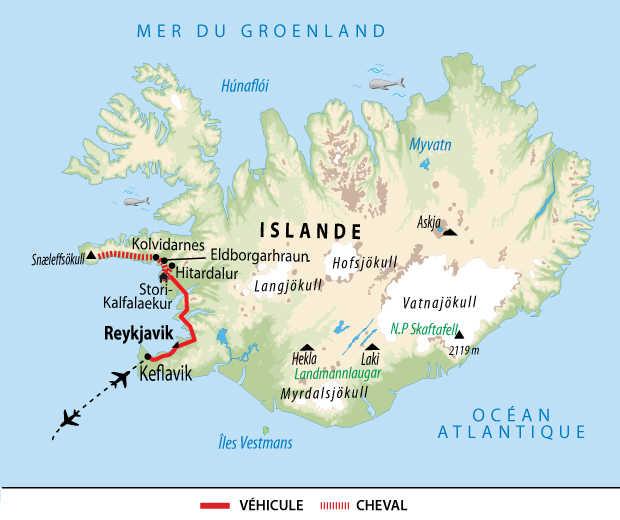 Carte voyage Islande Cheval