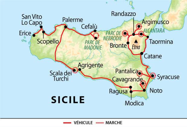 Carte Voyage Italie Sicile