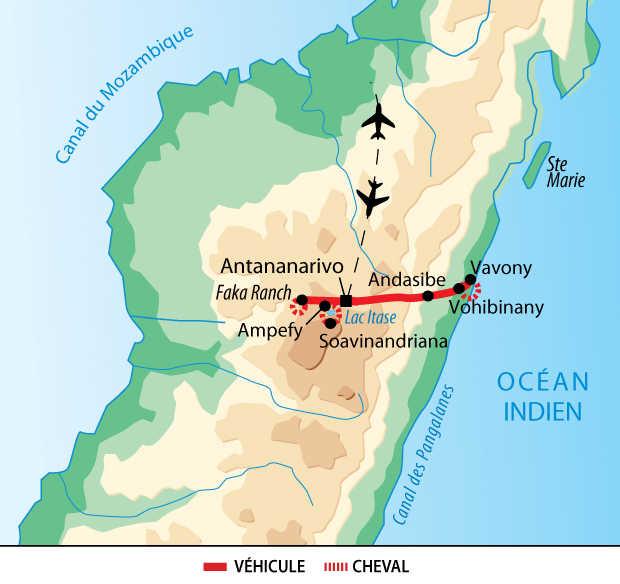 Carte voyage Madagascar Cheval